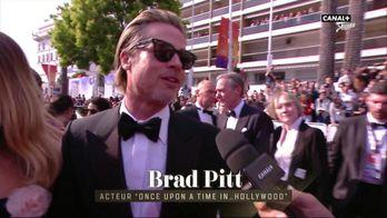 Brad Pitt au micro de Laurent Weil à l'occasion de sa montée des marches - Cannes 2019