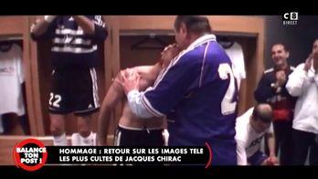Lorsque Jacques Chirac félicite les joueurs de l'équipe de France lors de la Coupe du Monde 1998