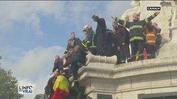 Manifestation des pompiers contre les agressions lors des interventions