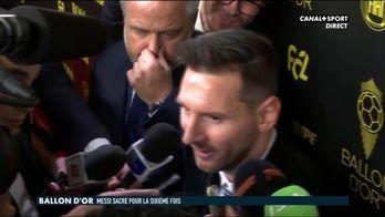 La réaction de Messi après son 6ème Ballon d'Or
