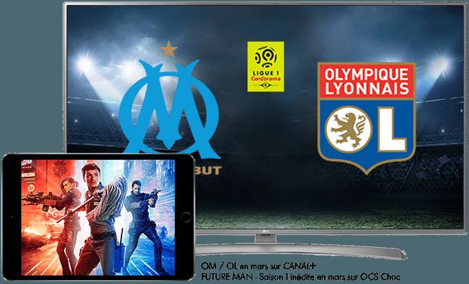 OM - OL Ligue 1 Conforama en mars sur CANAL+ / Future man saison 1 - inédit en mars sur OC Choc