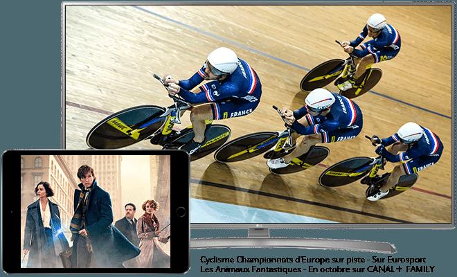 Cyclisme championnats d'Europe sur piste en octobre sur Eurosports / Les animaux fantastiques en octobre sur CANAL+ family