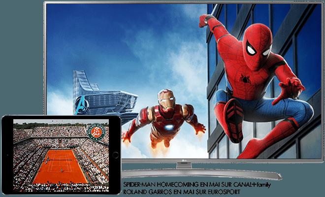 Spider-man Homecoming en Mai sur CANAL+Family / Rolland Garros en Mai sur Eurosport