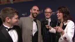 L'équipe du film Au nom de la terre sur le tapis rouge - César 2020