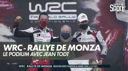 Jean Todt sur le podium avec les Champions du monde : WRC - Rallye de Monza
