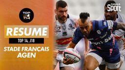 Le résumé de Stade Français / Agen : Canal Rugby Club
