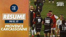 Le résumé de Provence Rugby / Carcassonne : Pro D2 - 27ème journée