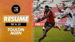 Le résumé de Toulon / Agen : TOP 14 - J21