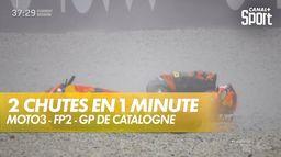 Deux chutes en 1 minute en Moto3