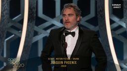 """Joaquin Phoenix - Meilleur acteur avec """"Le Joker"""" - Golden Globes 2020"""