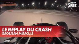 Le replay du crash de Grosjean : Grand Prix de Bahrein
