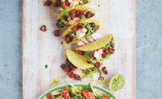 Tacos au Porc Rissolés et une Salade Salsa