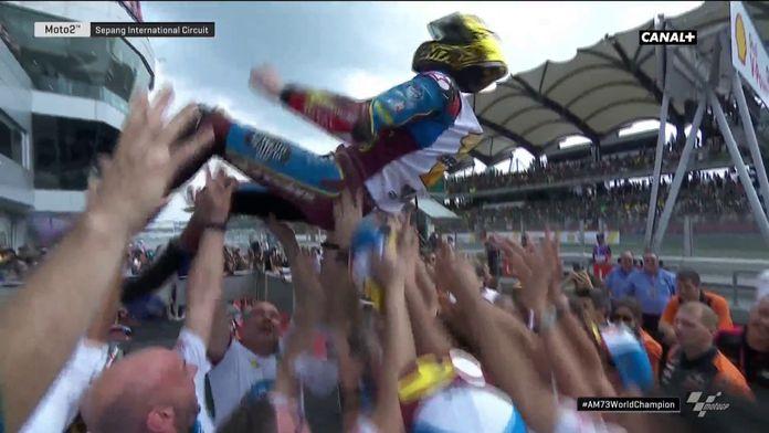 La célébration d'Alex Marquez pour son titre de champion du monde
