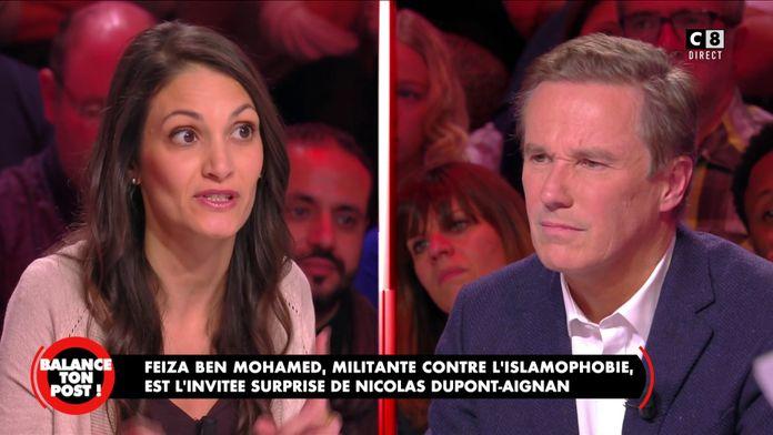 Feiza Ben Mohamed, militante contre l'islamophobie face à Nicolas Dupont-Aignan