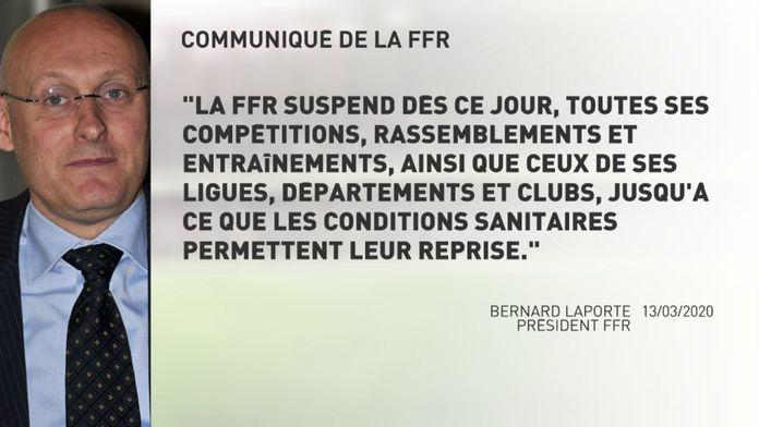 La FFR suspend ses compétitions : Covid_19