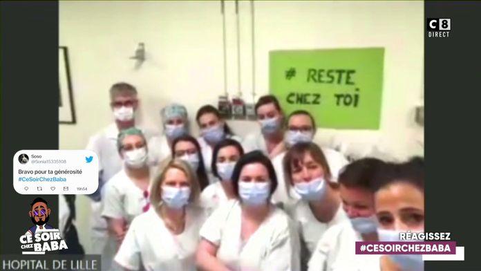 Cyril Hanouna en direct avec l'hôpital Jeanne de Flandre à Lille pour leur livrer un repas