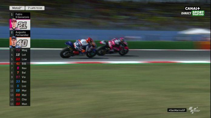 Moto 2 : La grosse bagarre au dernier tour entre Augusto Fernandez et Fabio Di Giannantonio