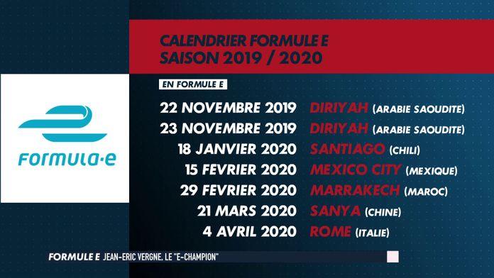 Le calendrier de la saison 2019/2020