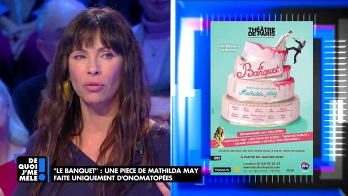 """Mathilda May vient présenter sa pièce de théâtre """"Le banquet"""" faite uniquement d'onomatopées"""