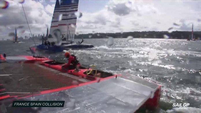 Collision entre le bateau français et espagnol : Sail GP