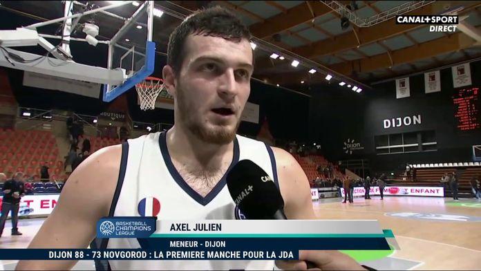 La réaction du dijonnais Axel Julien après la victoire des siens : Basketball Champions League