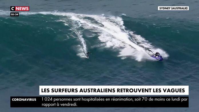 Les surfeurs australiens retrouvent les vagues : Déconfinement aussi dans l'océan