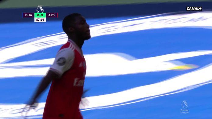 La sublime frappe enroulée pleine lucarne signée Nicolas Pépé : Brighton / Arsenal, 30ème journée de Premier League