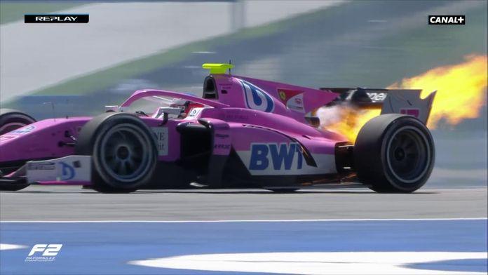 Le moteur de Giuliano Alesi en feu : GP d'Autriche F2