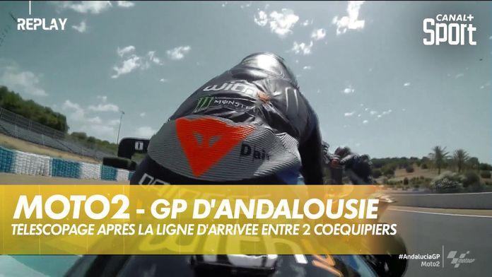 Télescopage après la ligne d'arrivée entre deux coéquipiers : Moto2
