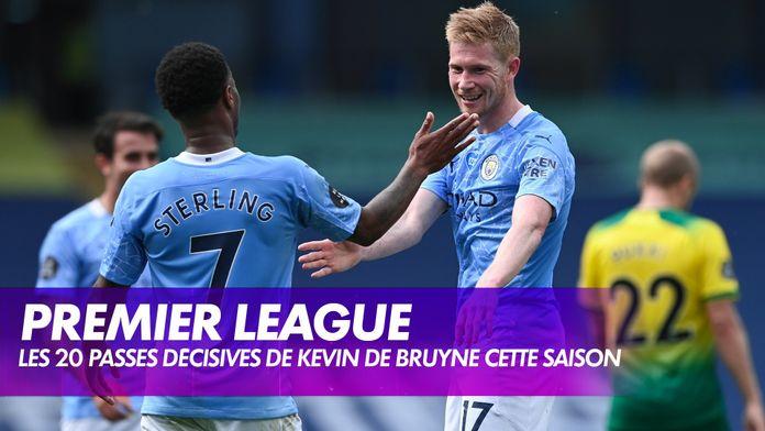"""Les 20 """"assists"""" de De Bruyne cette saison avec City : Premier League"""