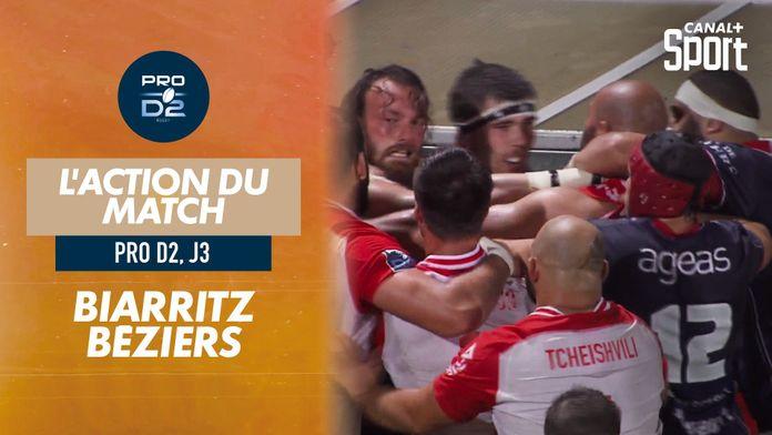 L'action de la rencontre Biarritz / Béziers : PRO D2