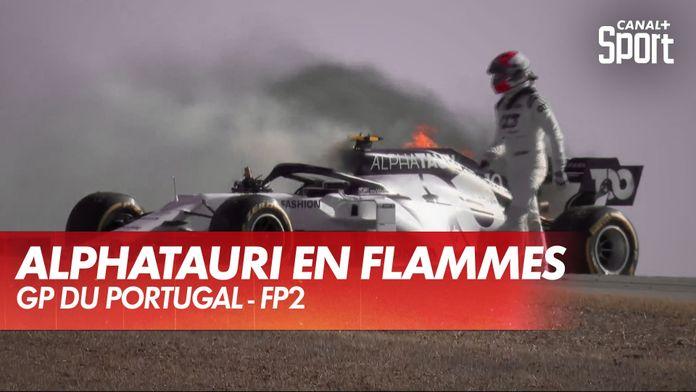 La voiture de Gasly en flammes, drapeau rouge en FP2 : Grand Prix du Portugal