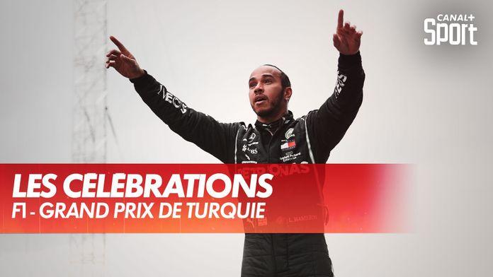 Les célébrations et le podium d'Hamilton après son 7ème titre : Grand Prix de Turquie