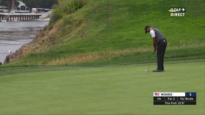Le birdie de Tiger Woods sur un putt de 7m