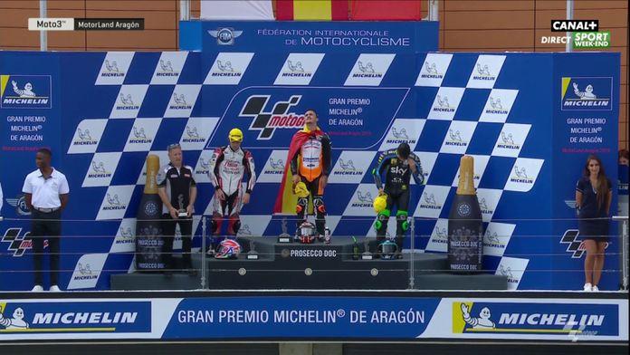 Le podium Moto 3 du Grand Prix d'Aragon