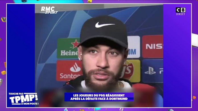 Les joueurs du PSG réagissent après la défaite face à Dortmund