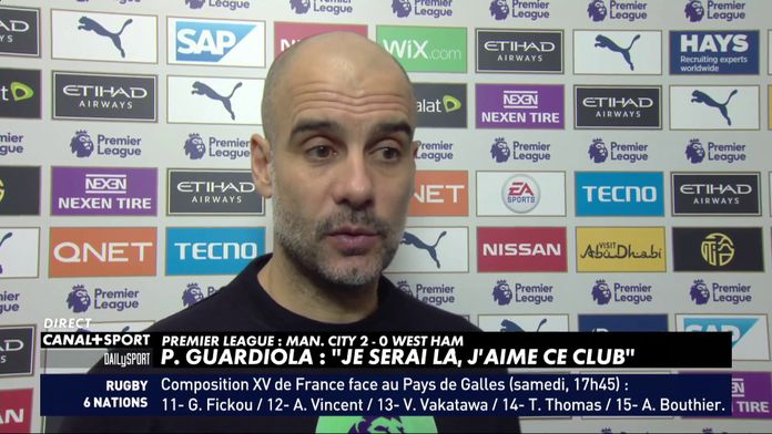 "P. Guardiola sur la condamnation de City : ""Je serai là, j'aime ce club"""
